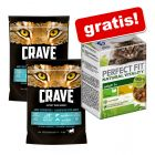 2 x 750g secco Crave Adult Cat + 6 x 50g umido Perfect Fit Vitality gratis!