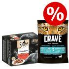 48 x 85 g Sheba Adult Mix Nassfutter + 750 g Crave Adult Trockenfutter zum Sonderpreis!