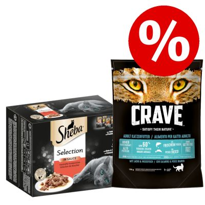 48 x 85 g Sheba Adult Mix Natover + 750 g Crave Adult Droogvoer!