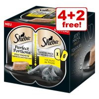 6 x 37.5g Sheba Perfect Portions Wet Cat Food - 4 + 2 Free!*