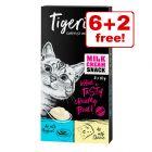 8 x 10g Tigeria Milk Cream Mix Cat Treats - 6 + 2 Free!*