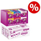 96 x 100 g Whiskas Adult Nassfutter + 24 x 60 g Knuspertaschen XXL Mixcase Snacks zum Sonderpreis!