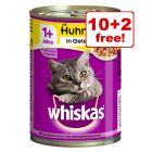 12 x 390g Whiskas 1+ Cans Wet Cat Food - 10 + 2 Free!*