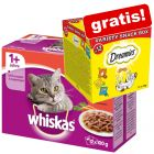 96 x 100 g Whiskas portionsposer + Dreamies kattesnacks