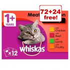 96 x 100g Whiskas Wet Cat Food Pouches - 72 + 24 Free!*