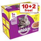 12 x 100g Whiskas Wet Cat Food Pouches - 10 + 2 Free!*