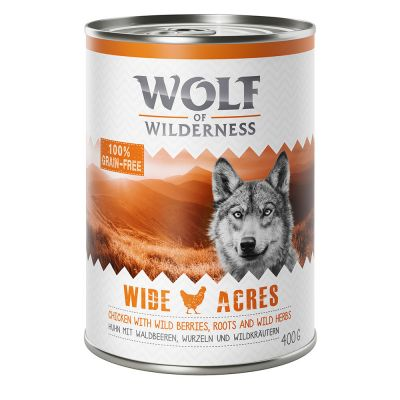 6 x 400 g Wolf of Wilderness Adult zum Probierpreis!