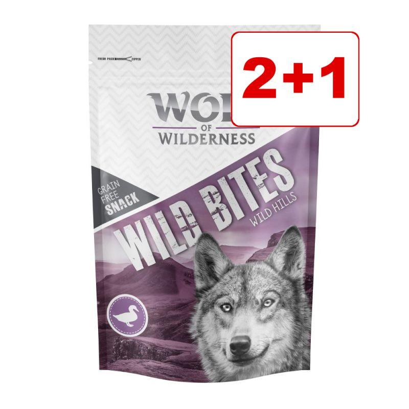 3 x 180 g Wolf of Wilderness Snack - Wild Bites : 2 + 1 kaupan päälle!