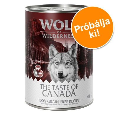 6 x 400 g Wolf of Wilderness 'The Taste Of' vegyes próbacsomag