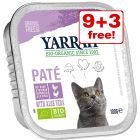 12 x 100g Yarrah Organic Wet Cat Food Trays - 9 + 3 Free!*