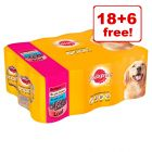 24 x 385g/400g Pedigree Adult Wet Dog Food - 18 + 6 Free!*