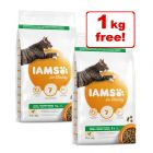 2 x 3kg IAMS for Vitality Dry Cat Food - 5kg + 1kg Free!*
