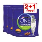3 x 1.4kg Purina ONE Dual Nature Dry Cat Food - Buy 2 Get 1 Free!*