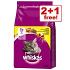 3 x 3.8kg Whiskas 1+ Dry Cat Food - 2 + 1 Free!*