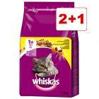 3 x 3,8 kg Whiskas 1+ kuivaruoka: 2 + 1 kaupan päälle!