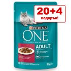 20 + 4 подарък! 24 x 85 г Purina One в паучове за котки