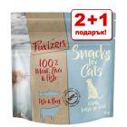 2 + 1 подарък! 3 x 40 г Purizon лакомства за котки