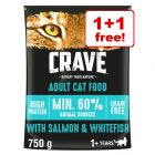 2x750g Crave Adult Dry Cat Food - 1+1 Free!*