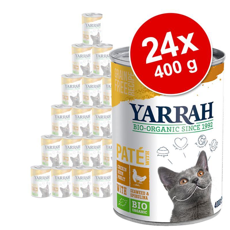 Yarrah patê biológico em latas - Pack económico 24 x 400 g