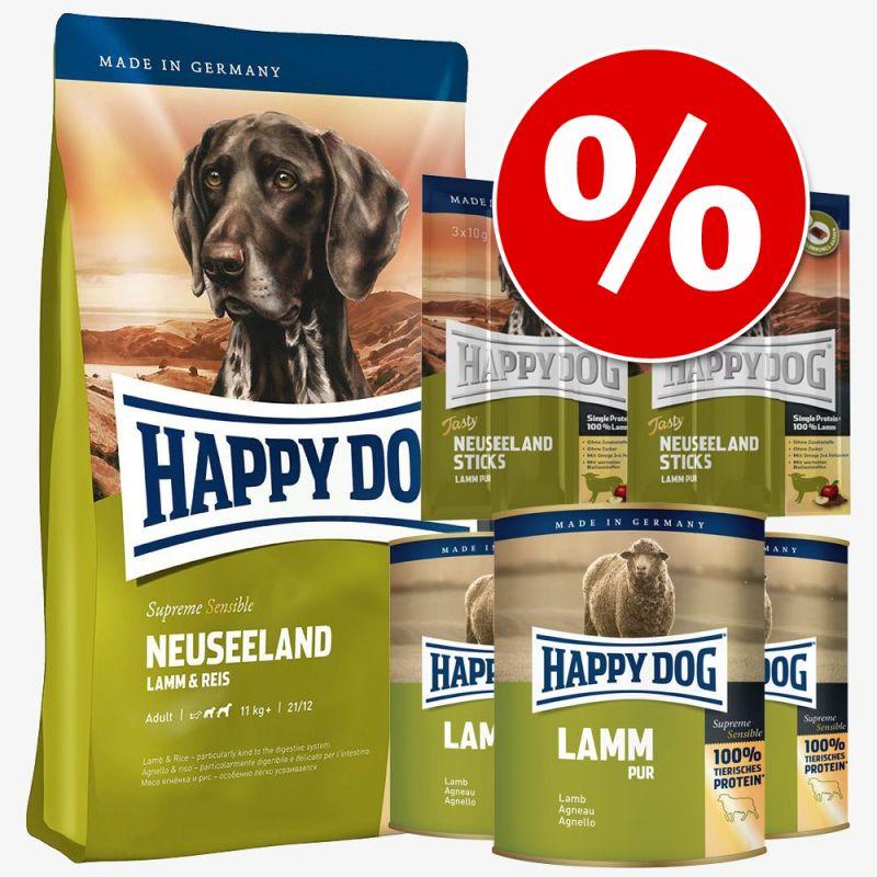 Yhteispakkaus: Happy Dog Uusi-Seelanti: kuiva- & märkäruoka + herkut