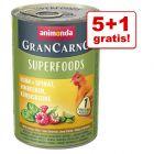 5 + 1 zdarma! 6 x 400 g Animonda GranCarno Adult Superfoods