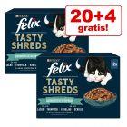 "20 + 4 zdarma! 24 x 80 g Felix ""Tasty Shreds"" kapsičky"