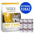 Zestaw próbny Wolf of Wilderness Adult: 1 kg karmy suchej + 6 x 400 g karmy mokrej