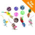 Zestaw zabawek dla kota z piłkami i myszkami