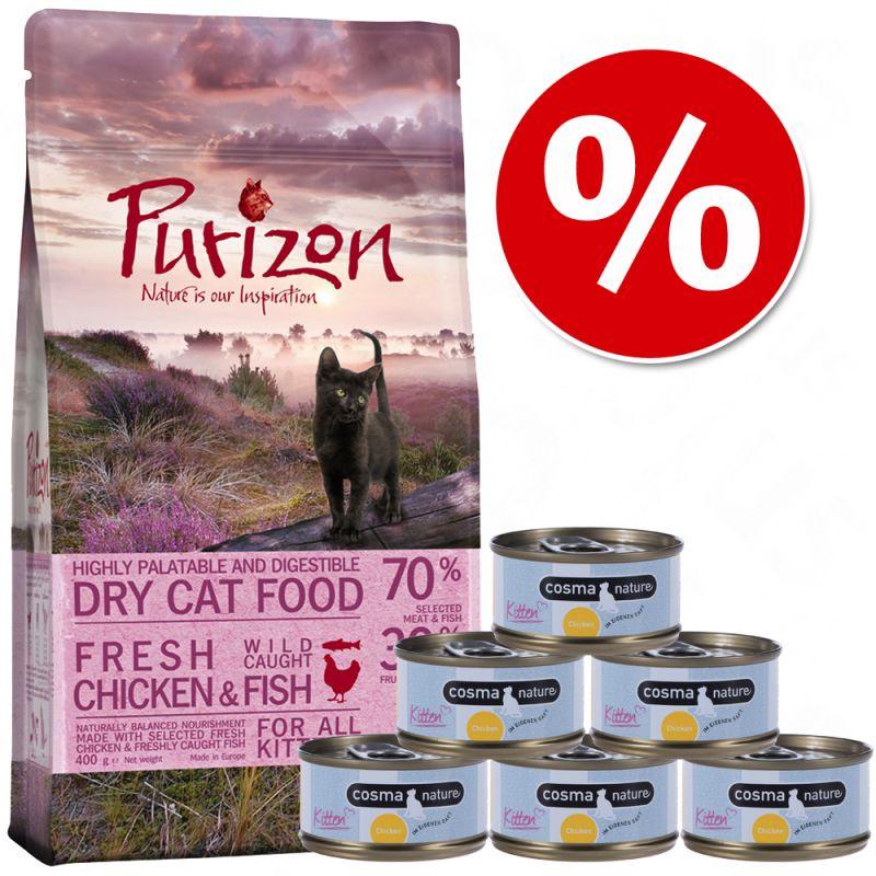 Zkušební set Kitten: Purizon 400 g  & Cosma Nature 6 x 70 g