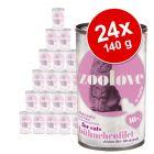 zoolove Alimento umido per gatti zoolove 24 x 140 g