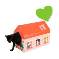 zoolove casita de cartón Home Winter con bloque rascador para gatos