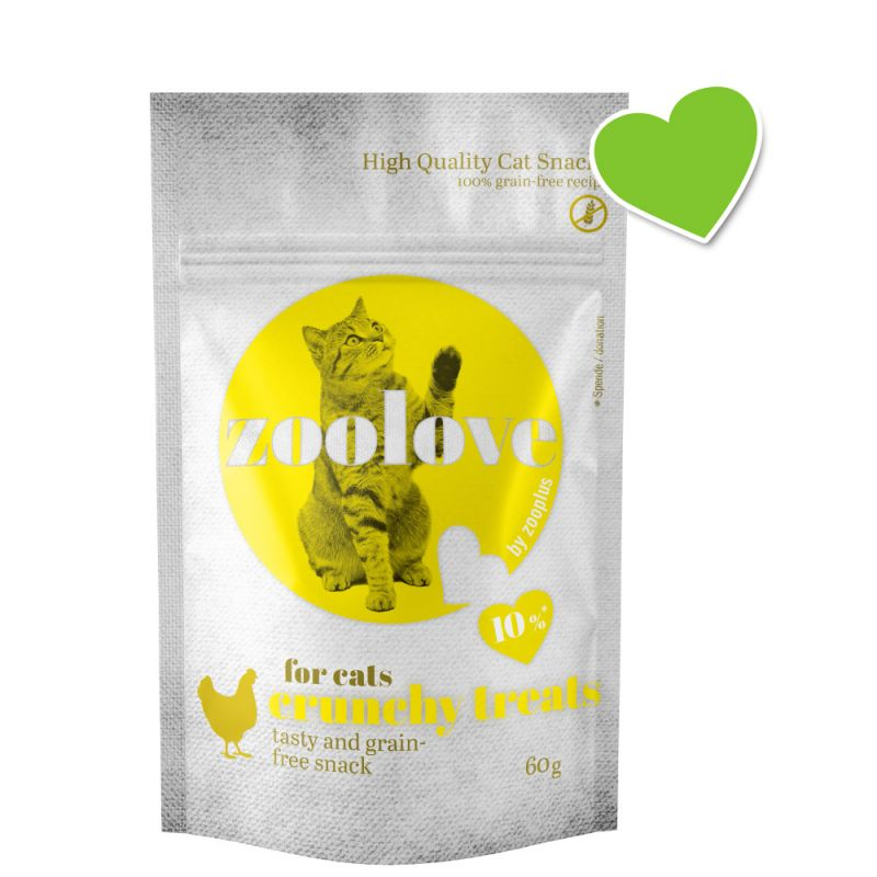 zoolove crunchy treats poulet pour chat