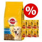 Zum Sonderpreis! 15 kg Pedigree Trockenfutter + Ranchos Slices Hundesnacks